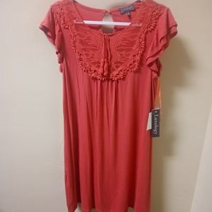 NWT Luxology coral embroidered midi dress sz M